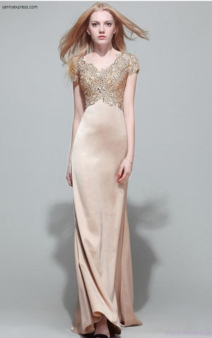 Sequin Sparkling Lace Party Gown - YannyExpress  - 1