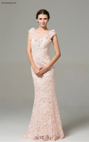 Embroidered Sequin Lace Gown - YannyExpress  - 1