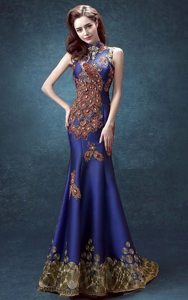 Sequin Lace Mermaid Qipao Phoenix Gown - YannyExpress  - 1
