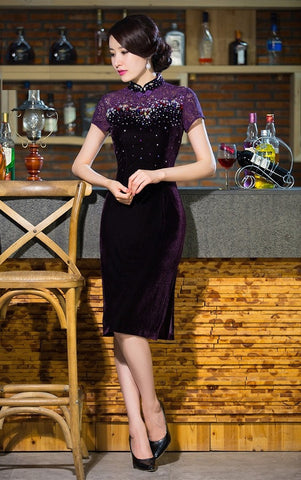Sequin Lace Tea Length Mother of the Bride Qipao - YannyExpress  - 1