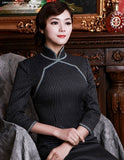 Shimmering Chic Woolen Cocktail Cheongsam Sophisticated Qipao - YannyExpress  - 5