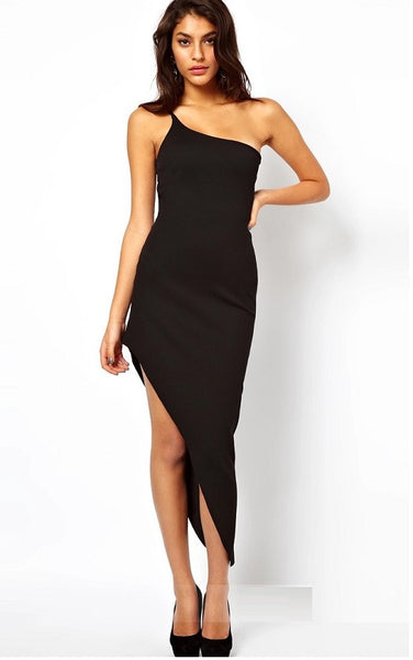 Shirred Jersey One-Shoulder Gown - YannyExpress  - 1