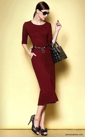 Shirred Jersey Sheath Dress - YannyExpress  - 1
