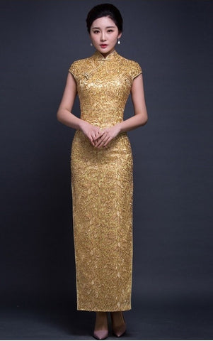 Short Sleeve Sequin Mesh Golden Qipao Gown - YannyExpress  - 1