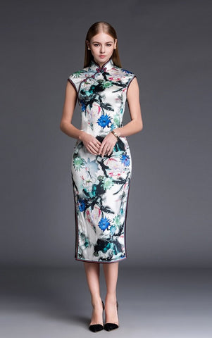 Silk Column Qipao Gown - YannyExpress  - 1