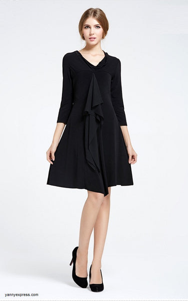 Skater Dress with Wrap Front - YannyExpress  - 1
