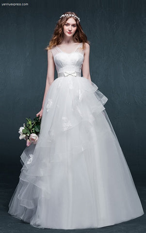 Sleeveless Wedding Dress with Sheer Top - YannyExpress  - 1