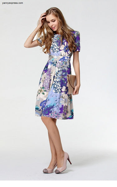 Printed Cotton A-Line Dress - YannyExpress  - 1