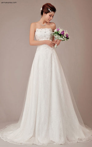 Strapless Applique Beads Empire Chiffon Bridal Gown - YannyExpress  - 1