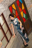 Traditional Long Silk Cheongsam Ink Floral Painting Evening Gown - YannyExpress  - 5