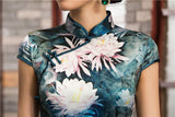 Traditional Long Silk Cheongsam Ink Floral Painting Evening Gown - YannyExpress  - 6