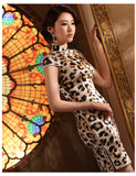 Leopard Patterned Silk Cheongsam Cocktail Evening Qipao Gown - YannyExpress  - 3