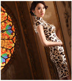 Leopard Patterned Silk Cheongsam Cocktail Evening Qipao Gown - YannyExpress  - 4