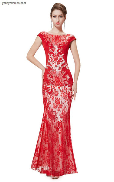 Textured Lace Mermaid Bateau Neckline Evening Ball Gown - YannyExpress  - 1