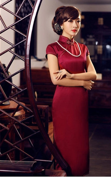 Traditional High-Grade Silk Cheongsam Elegant Modest Qipao - YannyExpress  - 1