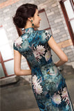 Traditional Long Silk Cheongsam Ink Floral Painting Evening Gown - YannyExpress  - 2
