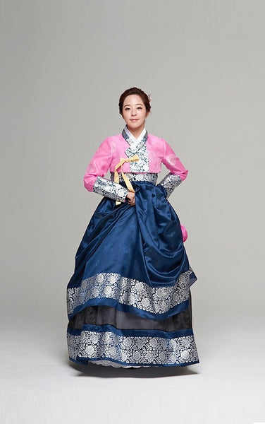Traditional Pink & Blue Myeongeol Hanbok - YannyExpress  - 1