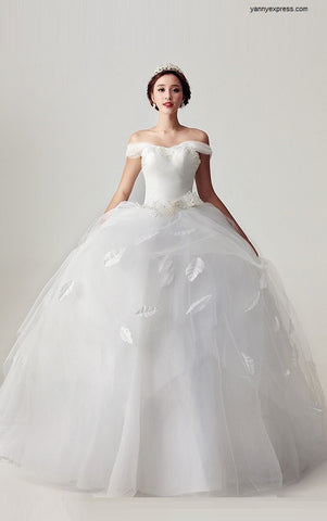 Tulle Ball Wedding Gown Draped Bodice Detail - YannyExpress  - 1