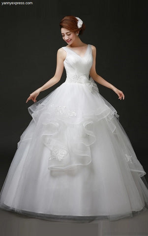 Tulle Ball Gown with Pick Up Skirt - YannyExpress  - 1