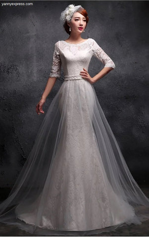 Tulle Trumpet Wedding Gown Illusion Neckline - YannyExpress  - 1