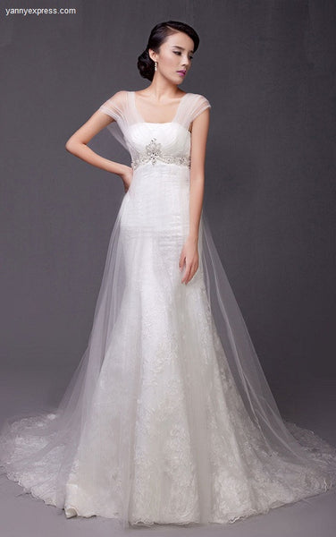 Bridal Tulle and Lace Trumpet Wedding Gown Sweeping Train - YannyExpress  - 1