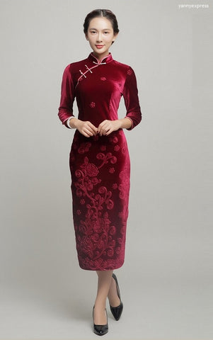 Velvet Sheath Floral Qipao Dress - YannyExpress  - 1