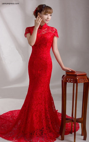 Wedding Bridal Qipao Red Lace Mermaid Gown with Sweep Train - YannyExpress  - 1