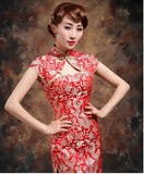Wedding Cheongsam Brocade Red Modified Lace Bridal Qipao - YannyExpress  - 4