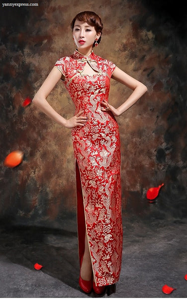 Wedding Cheongsam Brocade Red Modified Lace Bridal Qipao - YannyExpress  - 1