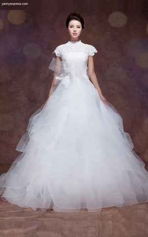Wedding Gown Lace Appliques Ruffled Skirt - YannyExpress  - 1