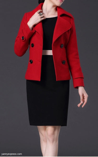 Wool Peacoat - YannyExpress  - 1