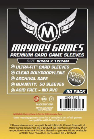 MAYDAY PREMIUM 50 PACK 80 X 120 MM CARD SLEEVES