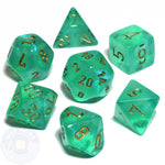 CHESSEX 7 DIE POLYHEDRAL DICE SET: BOREALIS LIGHT GREEN WITH GOLD