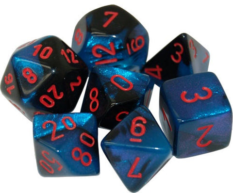 CHESSEX 7 DIE POLYHEDRAL DICE SET: GEMINI BLACK STARLIGHT WITH RED