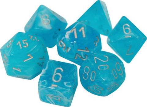 CHESSEX 7 DIE POLYHEDRAL DICE SET: LUMINARY SKY WITH SILVER