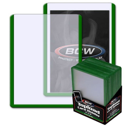 BCW 3 x 4 INCH TOPLOADER - GREEN BORDER