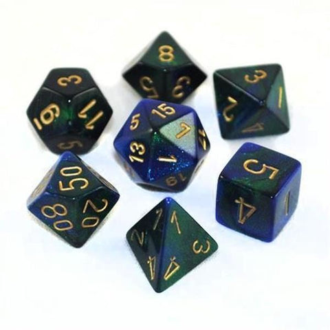 CHESSEX 7 DIE POLYHEDRAL DICE SET: GEMINI BLUE GREEN WITH GOLD