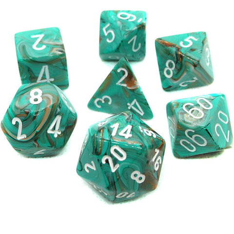 CHESSEX 7 DIE POLYHEDRAL DICE SET: MARBLE OXI-COPPER WITH WHITE