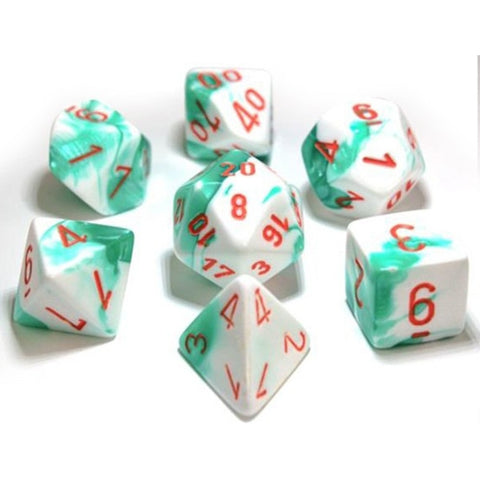 CHESSEX 7 DIE POLYHEDRAL DICE SET: LAB DICE GEMINI MINT GREEN-WHITE WITH ORANGE