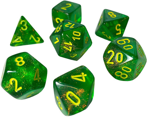 CHESSEX 7 DIE POLYHEDRAL DICE SET: BOREALIS MAPLE GREEN WITH YELLOW