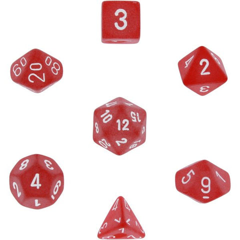 CHESSEX 7 DIE POLYHEDRAL DICE SET: FROSTED RED WITH WHITE