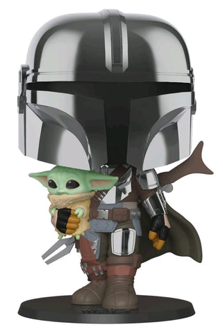 POP! STAR WARS MANDALORIAN: CHROME MANDALORIAN & CHILD (10 INCH)