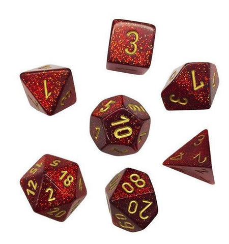 CHESSEX 7 DIE POLYHEDRAL DICE SET: GLITTER RUBY RED WITH GOLD