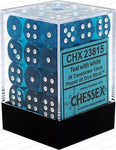 CHESSEX 12mm D6 DICE BLOCK (36 DICE) TRANSLUCENT TEAL WITH WHITE