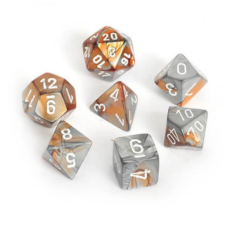 CHESSEX 7 DIE POLYHEDRAL DICE SET: GEMINI COPPER STEEL WITH WHITE
