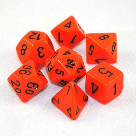 CHESSEX 7 DIE POLYHEDRAL DICE SET: OPAQUE ORANGE/BLACK