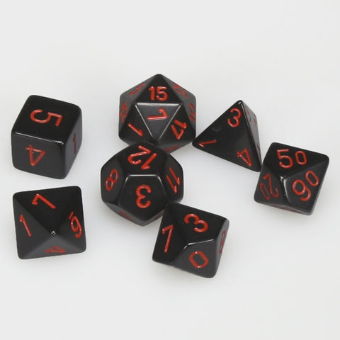 CHESSEX 7 DIE POLYHEDRAL DICE SET: OPAQUE BLACK/RED
