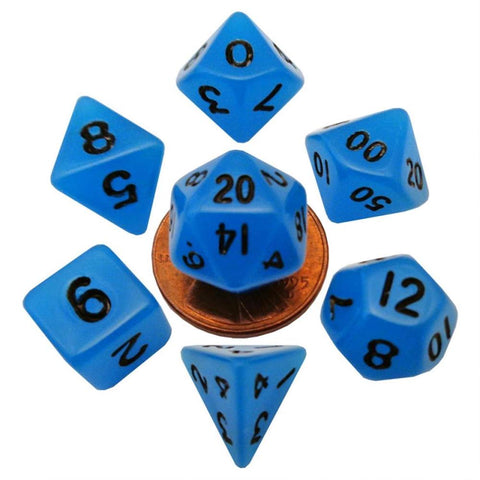 MDG MINI POLYHEDRAL DICE SET - GLOW BLUE
