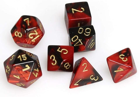 CHESSEX 7 DIE POLYHEDRAL DICE SET: GEMINI BLACK RED WITH GOLD