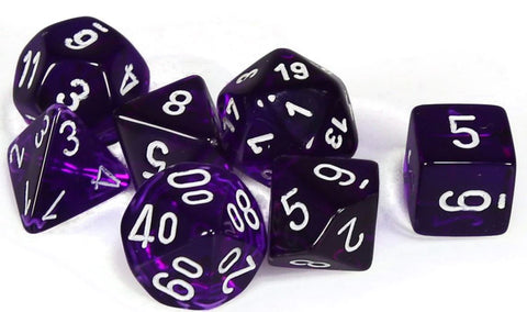 CHESSEX 7 DIE POLYHEDRAL DICE SET: TRANSLUCENT PURPLE WITH WHITE
